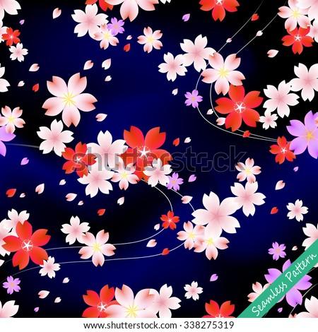 Japanese cherry blossom kimono seamless pattern. Vector illustration
