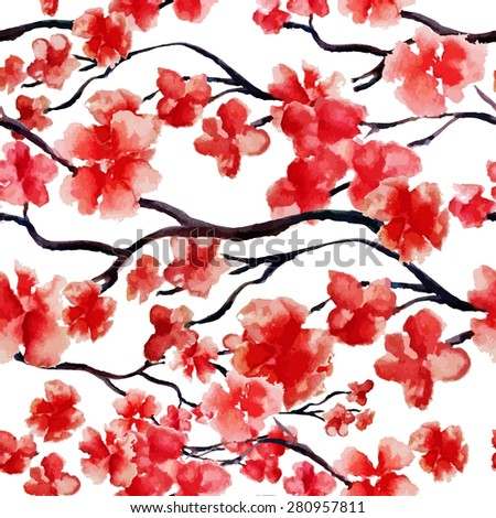 Japanese cherry blossom, sakura tree seamless watercolor pattern. Vector illustration, ready for print. Can be used for wallpaper design, textile design.
