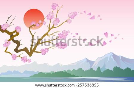 Japanese cherry-sakura on a background of Mountains Day - stock vector