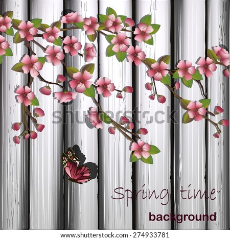 Japanese cherry tree and wooden background.Vector illustration - stock vector