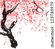 Japanese Cherry tree blossom. Watercolor - stock photo