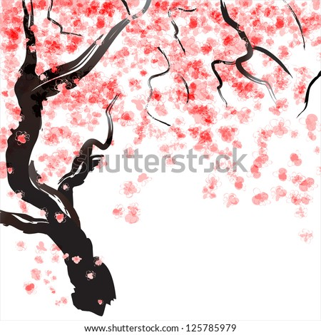 Japanese Cherry tree blossom. Watercolor - stock vector