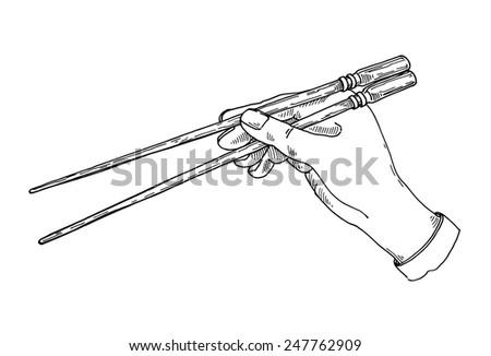 Japanese chopsticks - stock vector
