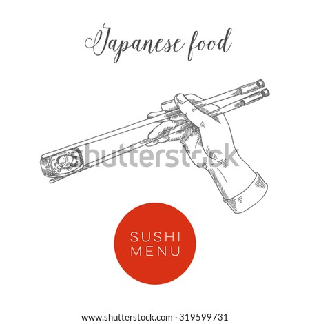 Japanese chopsticks, sushi menu, vector illustration - stock vector