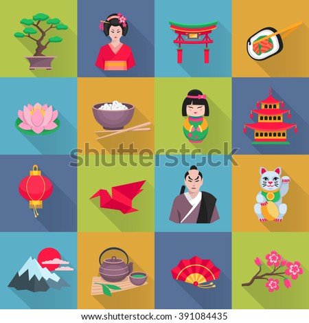 Japanese culture flat icons collection with lotus flower red lantern and bonsai shadow abstract isolated vector illustration