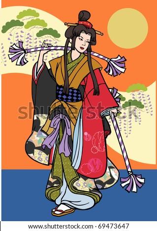 Japanese dancing girl. Vector illustration - stock vector
