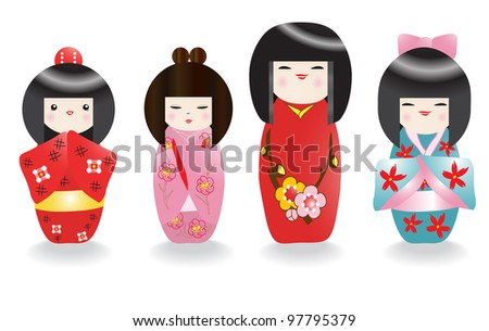 Japanese doll - stock vector