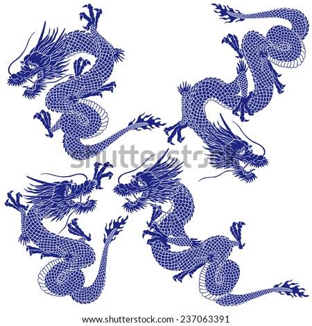 Japanese dragon - stock vector