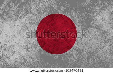 Japanese flag with a grunge texture effect.