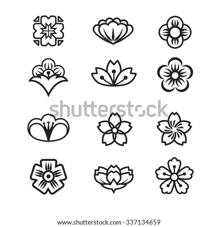 Japanese flower icons set