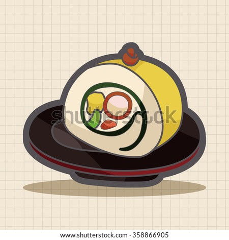 Japanese food sushi theme elements - stock vector
