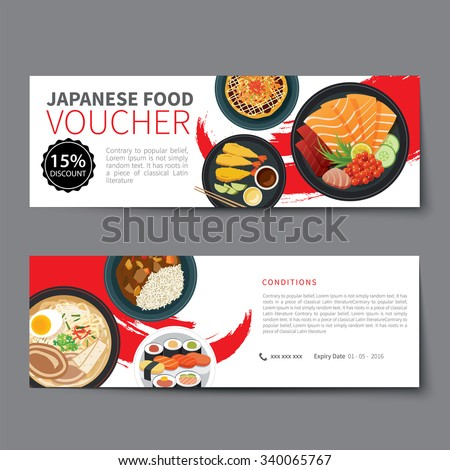 Japanese Food Voucher Discount Template Flat Stock Vector
