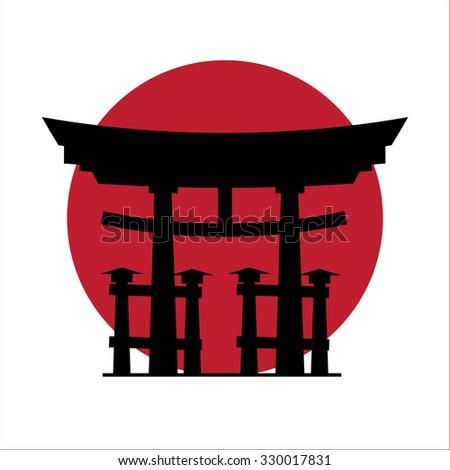 Japanese gate - stock vector