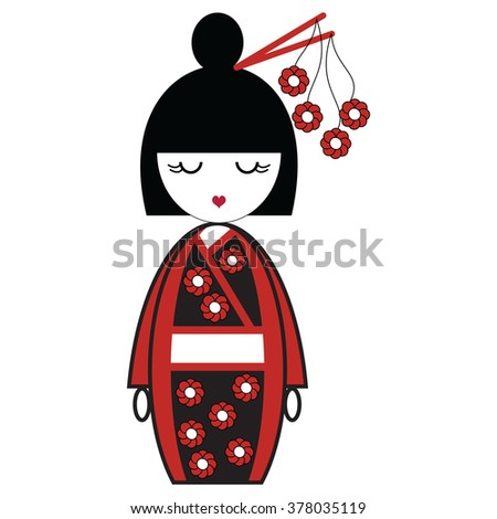 Japanese Geisha doll with black and red kimono with flowers inspired and stick in hair by Asian Culture    - stock vector