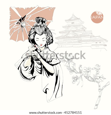 Japanese geisha, girl, woman. Color freehand drawing vector, contour. China, Japan, Asia, cherry, hair, hair style, umbrella, Japanese Palace, the Japanese pagoda, the Imperial Palace. Japanese motif. - stock vector