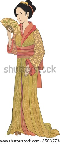 Japanese geisha – vector illustration in style of traditional old japanese engraving - stock vector
