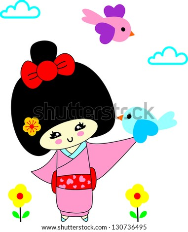 Japanese girls in kimonos - stock vector