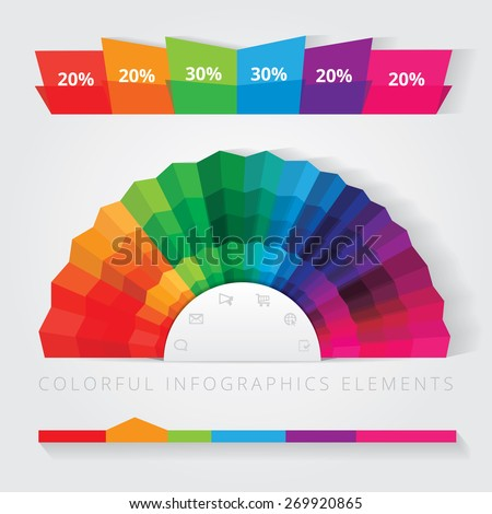 japanese hand fan infographics pie chart element design and timeline for business presentations in bright multiple color spectrum - stock vector