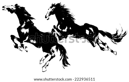 Japanese horse - stock vector