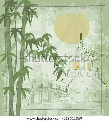 Japanese house against the sun. Thickets of bamboo. The bridge across the lake. - stock vector