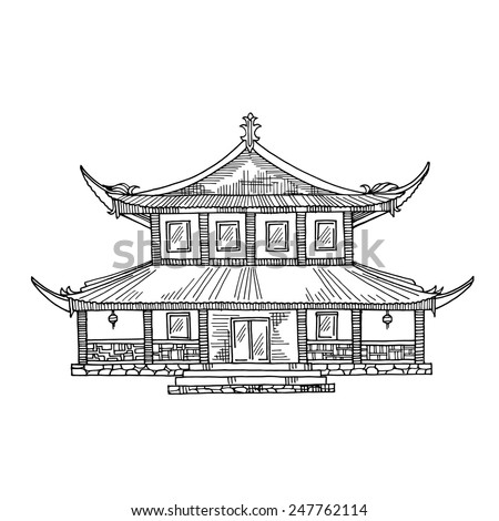 Japanese House Chinese Traditional Hut Temple