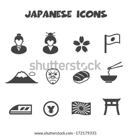 japanese icons, mono vector symbols - stock vector