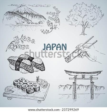 japanese illustration - stock vector