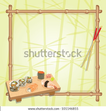 Japanese inspired sushi  party with an assortment of sushi on a wood serving board, chop sticks and a bamboo frame with a subtle background of lucky bamboo. Great for any Japanese themed party! - stock vector