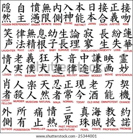 Japanese kanji - chinese symbols 8 - stock vector