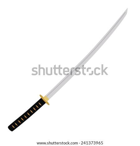 Japanese katana sword vector isolated on white, samurai sword, traditional weapon - stock vector