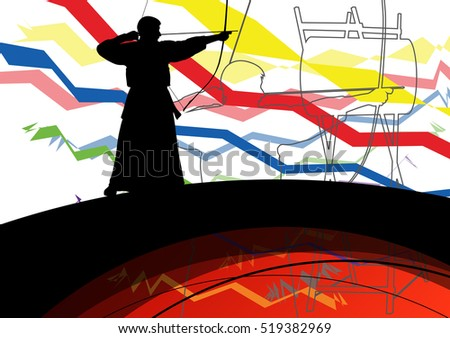 Japanese kendo active sport kyudo archer martial arts fighter bow silhouette abstract illustration background vector