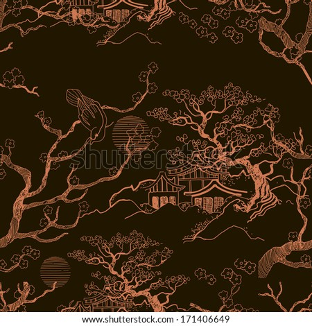 Japanese landscape. Beautiful Asian pattern