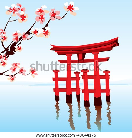 Japanese landscape. Morning on the lake with a red flooded the temple. - stock vector