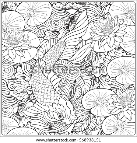 Japanese Landscape With Lotus And Fish Outline Drawing Coloring Page Book For Adult