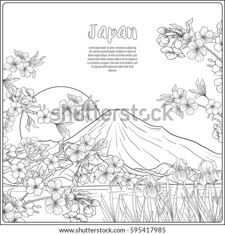 Japanese Landscape With Mount Fuji And Tradition Flowers A Bird Outline Drawing Coloring Page