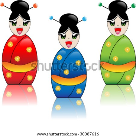 Japanese manga style girl laughing with kimono in red, blue and green - stock vector