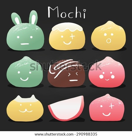 Japanese mochi rice dessert. Vector Set of sweets