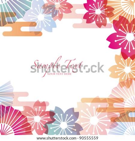 japanese motif background - stock vector