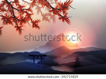 Japanese Mountain Landscape - Vector Illustration - stock vector
