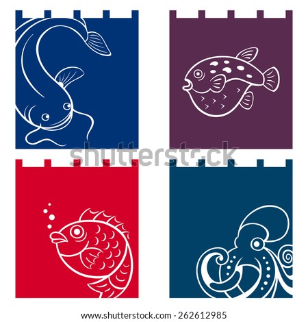 Japanese noren (fabric dividers) with fish designs - stock vector