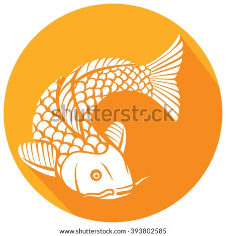 japanese or chinese inspired koi carp fish flat icon - stock vector