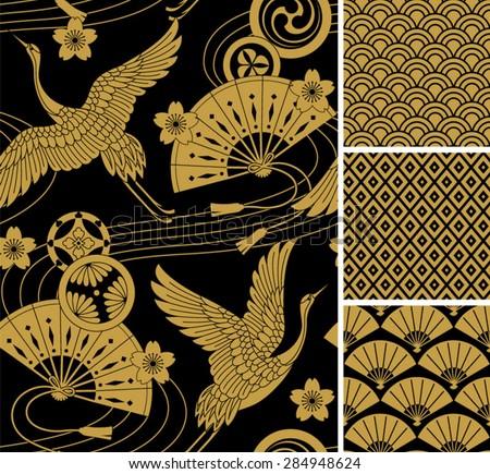 japanese pattern set seamless vector ornaments stock