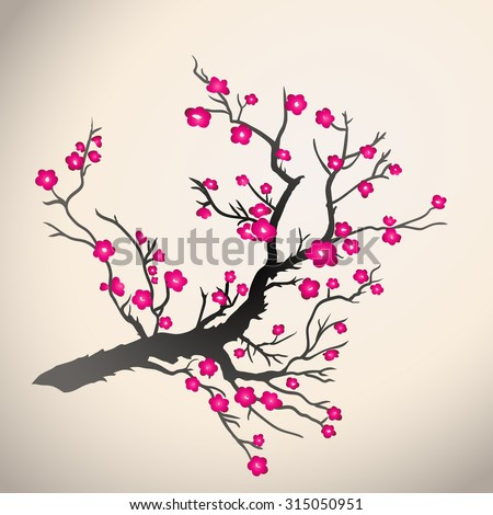 Japanese plum blossom on a beige background. Vector illustration
