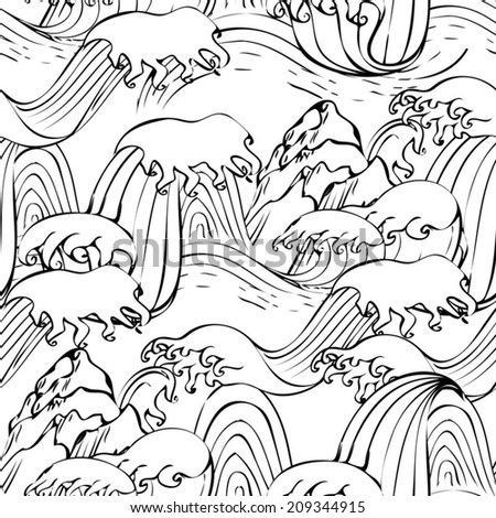 Japanese seamless graphic waves pattern  with mountain