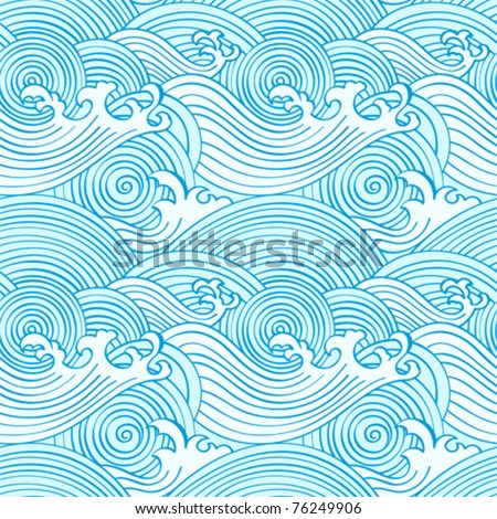 Japanese seamless waves pattern in ocean colors - stock vector