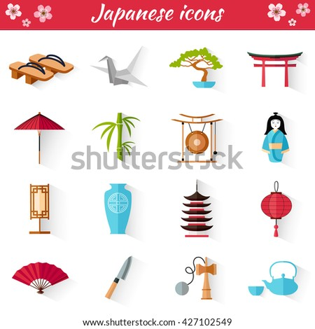 Japanese Set of icons in flat style. Vector illustration. A collection of symbol in oriental style. Thumbnails for web design. - stock vector