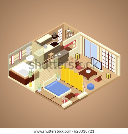 Isometric warehouse interior inside industrial scales for Conception cuisine 2d
