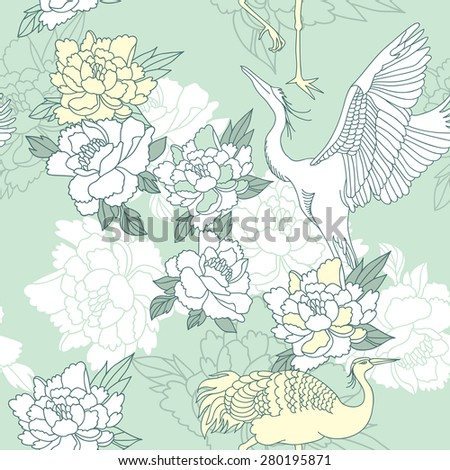 Japanese style seamless floral pattern with peonies and cranes - stock vector