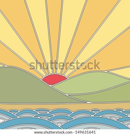 Japanese sun rising in tile pattern style - stock vector
