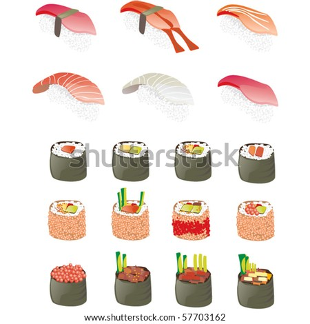 Japanese sushi and rolls - stock vector